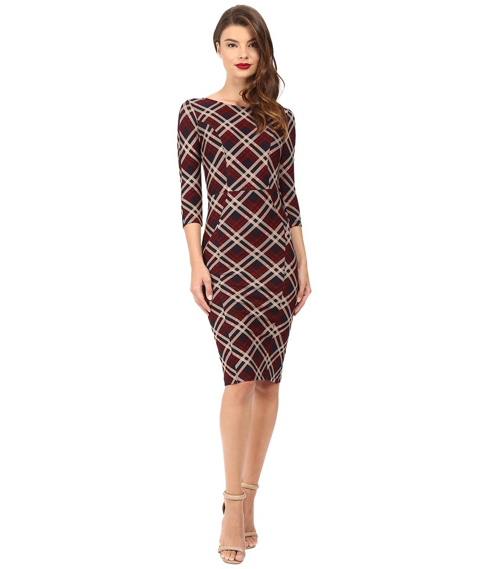 Unique Vintage - Sleeved Knit Mod Wiggle Dress (Red Plaid) Women's Dress