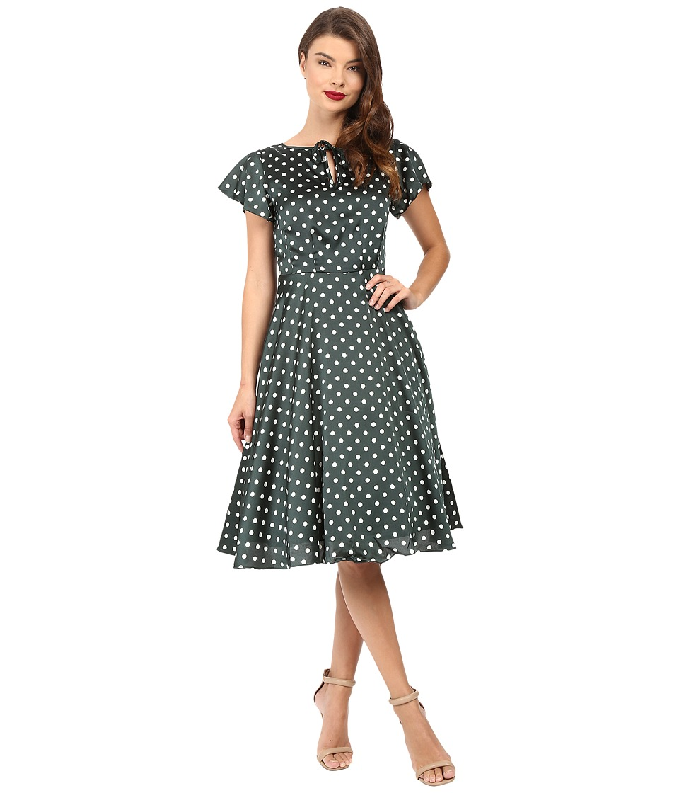Unique Vintage - Formosa Flutter Sleeve Dress (Emerald Dots) Women's Dress