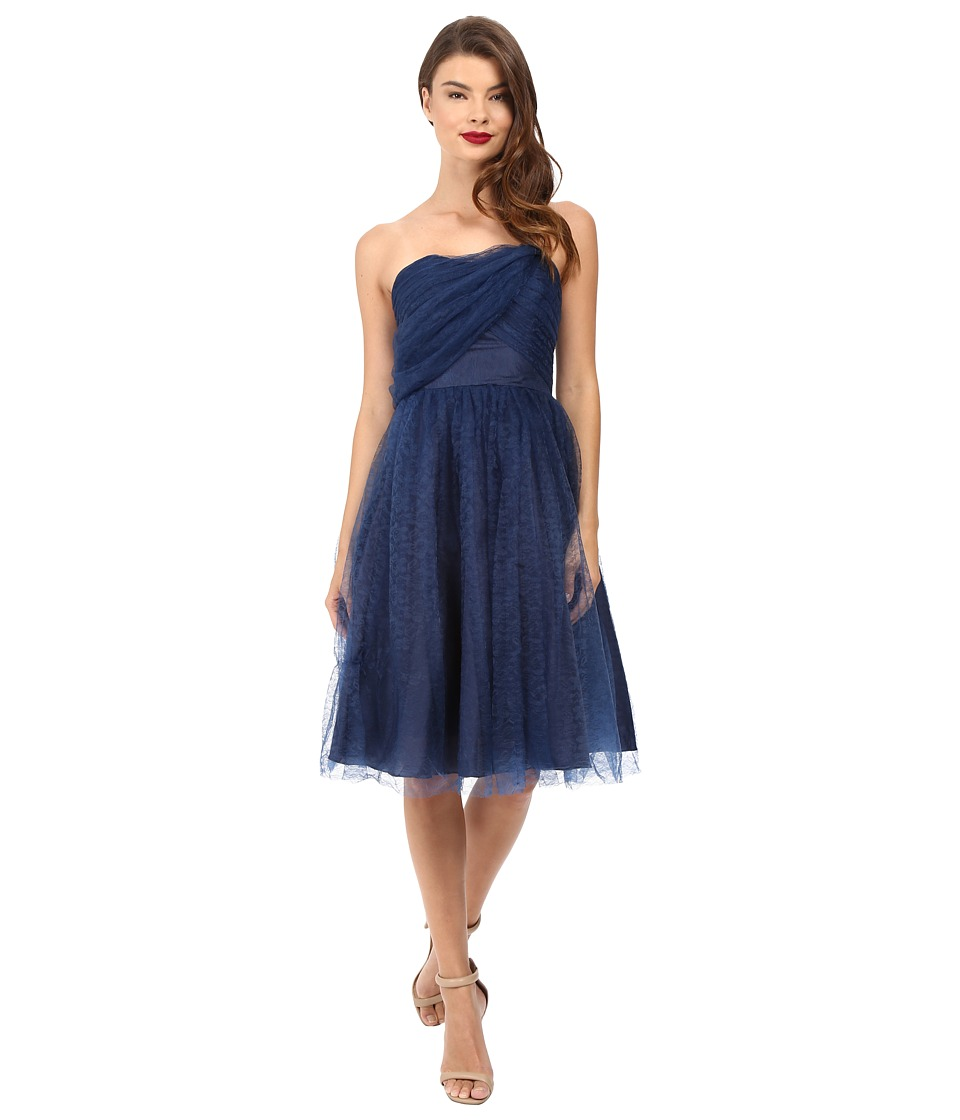 Unique Vintage - One Shoulder Cocktail Dress (Navy) Women's Dress