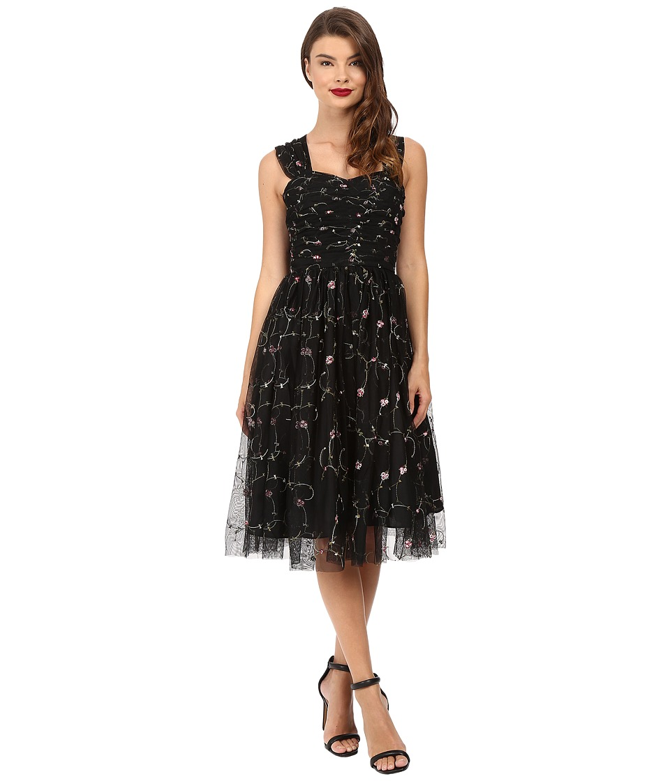 Unique Vintage - Embroidered Garden State Dress (Black Embroidered) Women's Dress