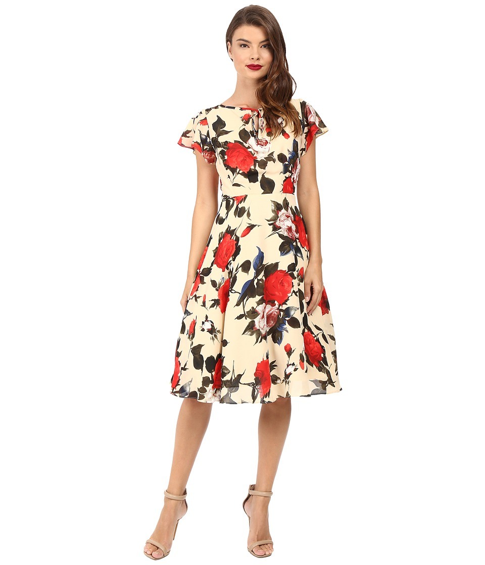 Unique Vintage - Formosa Flutter Sleeve Dress (Cream Floral) Women's Dress