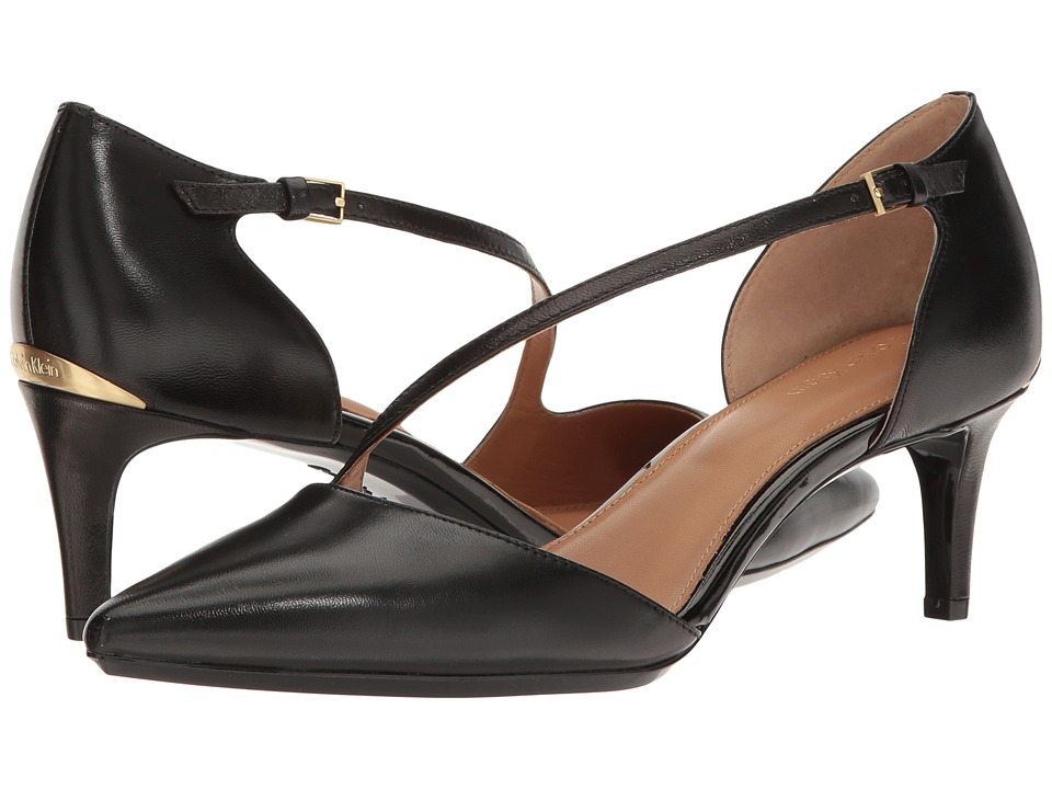 Calvin Klein - Page (Black Leather) Women's Flat Shoes