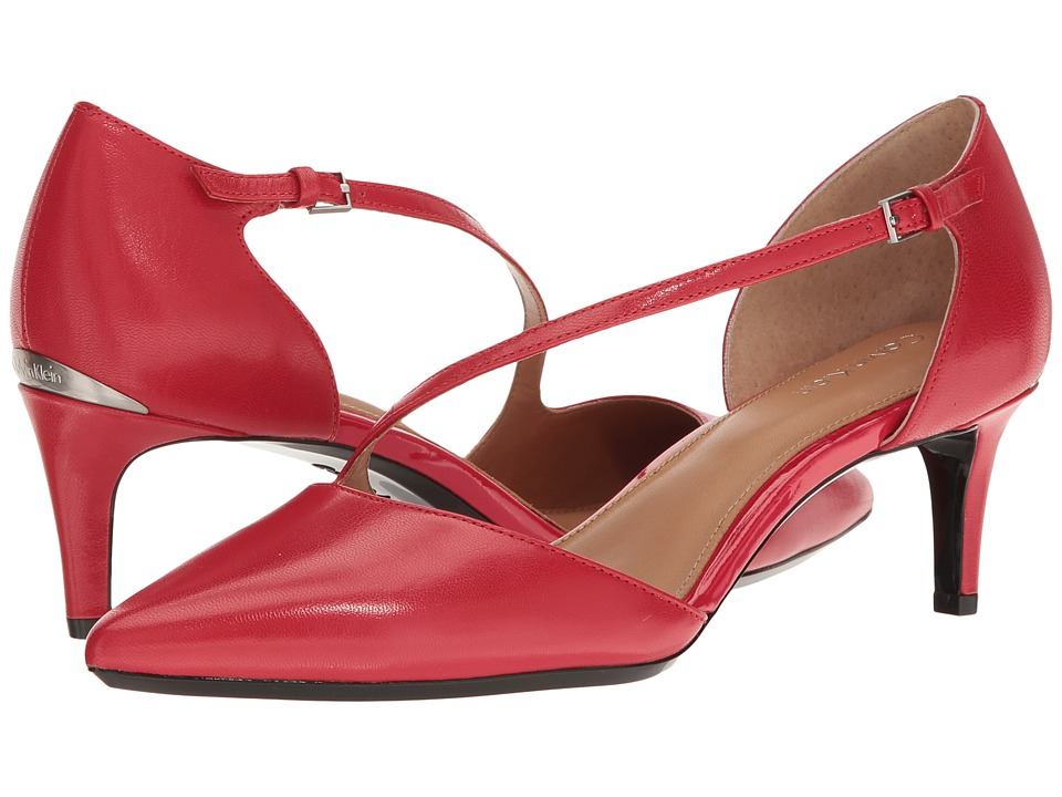 Calvin Klein - Page (Lipstick Red Leather) Women's Flat Shoes