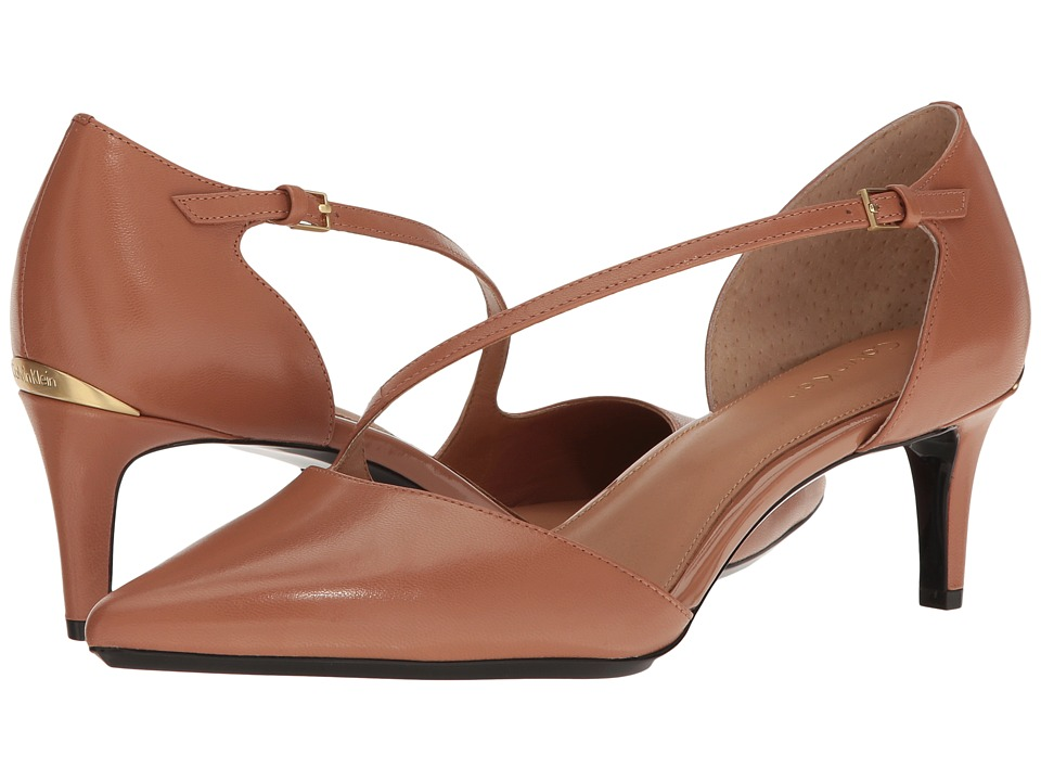 Calvin Klein - Page (New Caramel Leather) Women's Flat Shoes