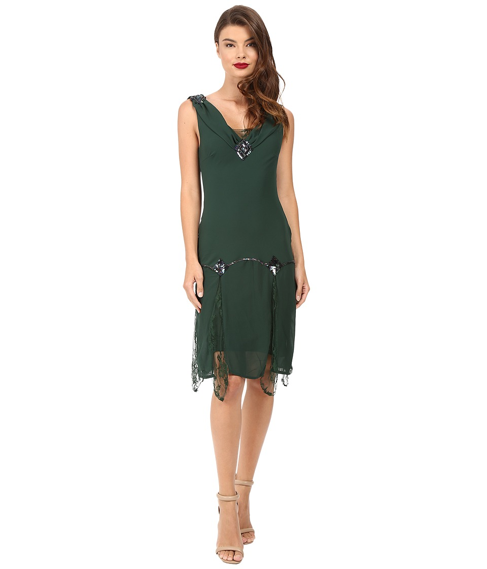 Unique Vintage - Hemingway Chiffon Flapper Dress (Emerald) Women's Dress