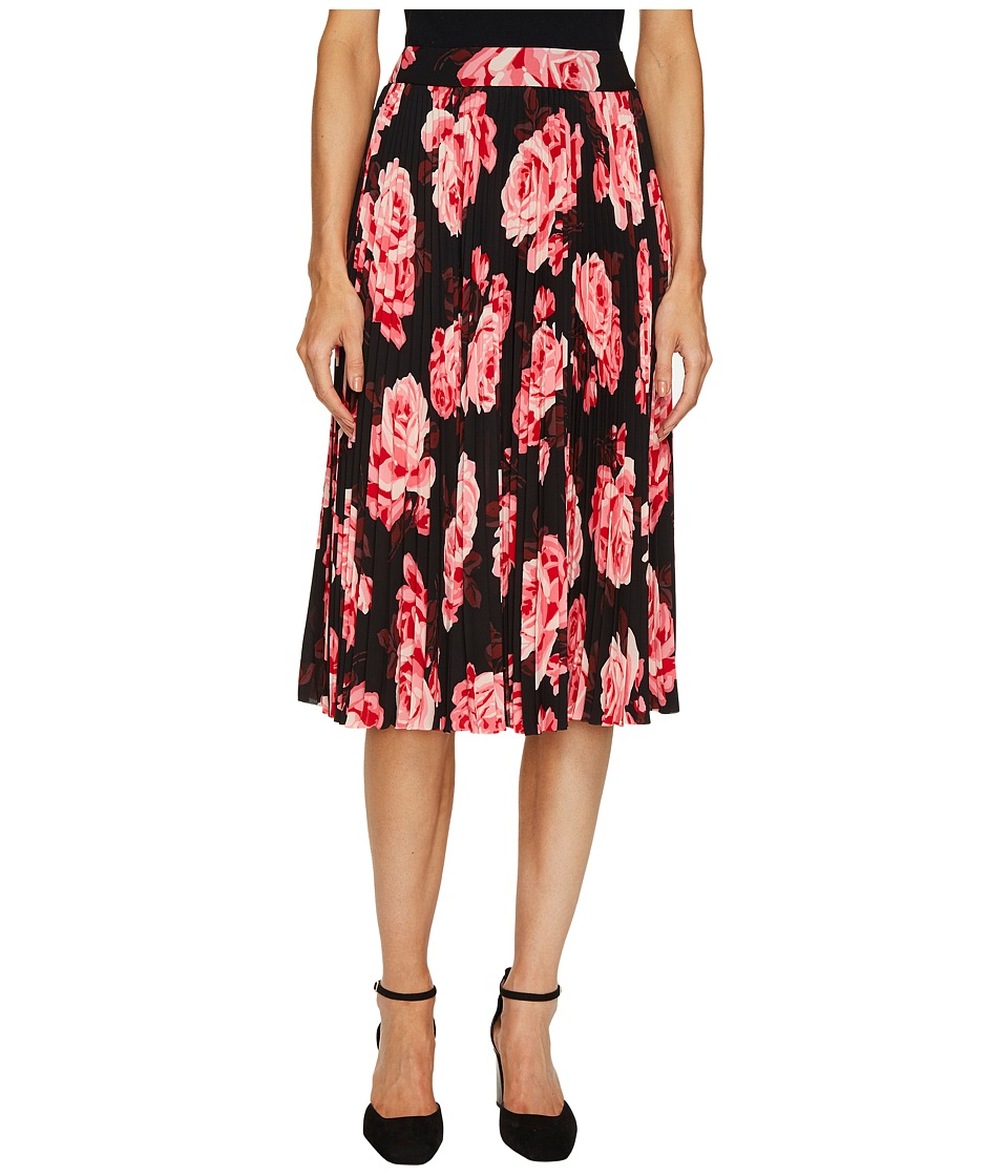 Kate Spade New York - Rambling Roses Rosa Pleated Skirt (Black Multi) Women's Skirt