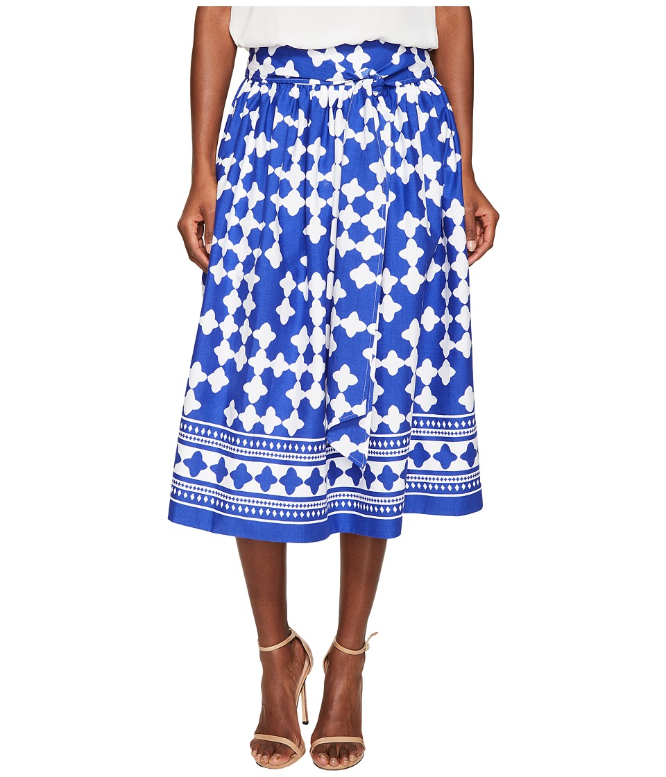 Kate Spade New York - Spice Things Up Lantern Poplin Midi Skirt (Cobalt Blue/Fresh White) Women's Skirt