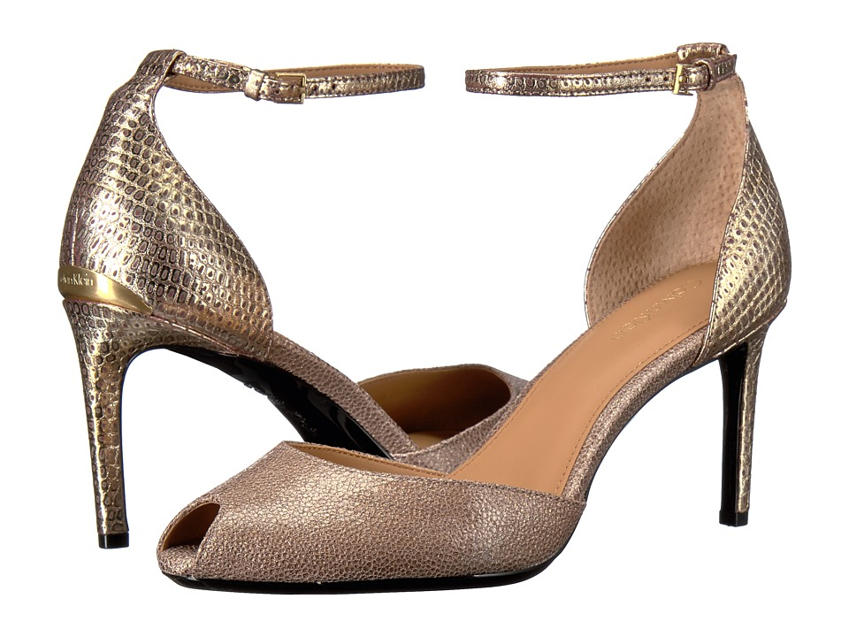 Calvin Klein - Saiden (Cocoon/Gold Finch Stingray Print Leather) Women's 1-2 inch heel Shoes