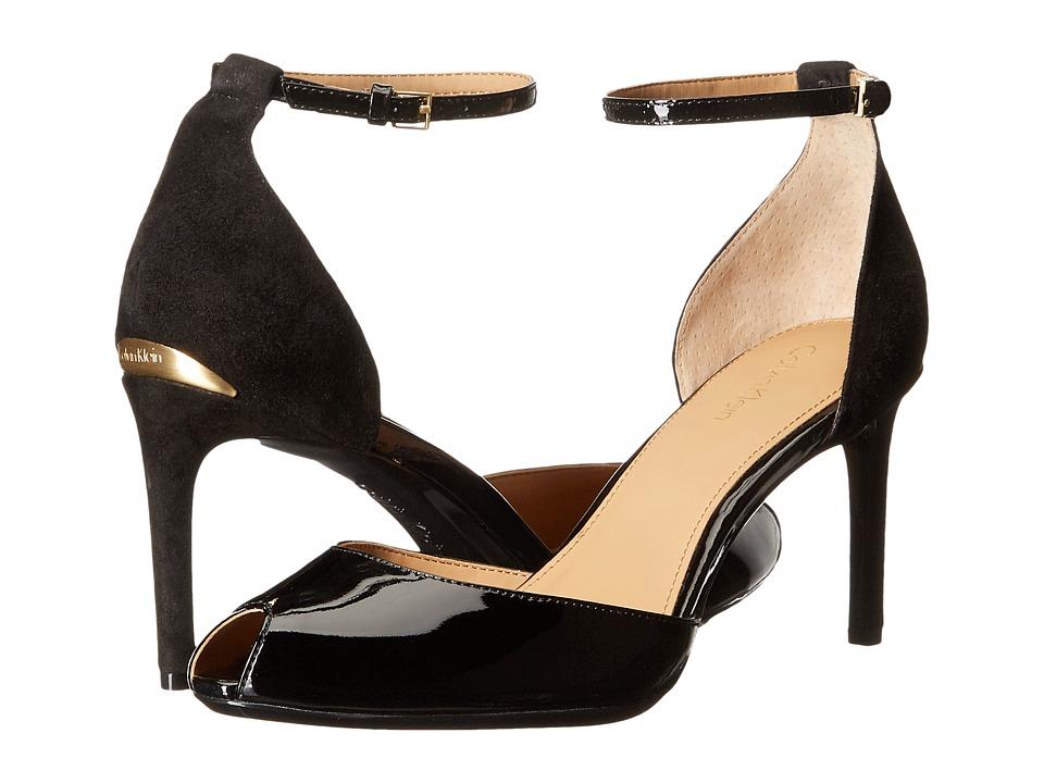 Calvin Klein - Saiden (Black Patent/Suede) Women's 1-2 inch heel Shoes