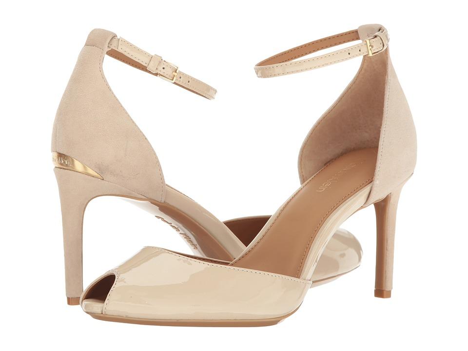Calvin Klein - Saiden (Sand Patent/Suede) Women's 1-2 inch heel Shoes