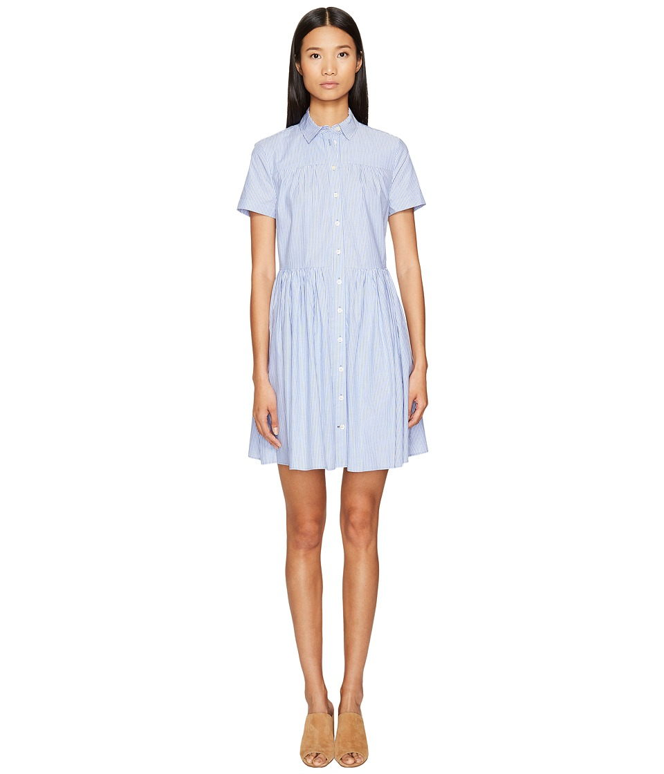 Kate Spade New York - Broome Street Stripe Poplin Swing Shirtdress (Fresh White/Sound Blue) Women's Dress
