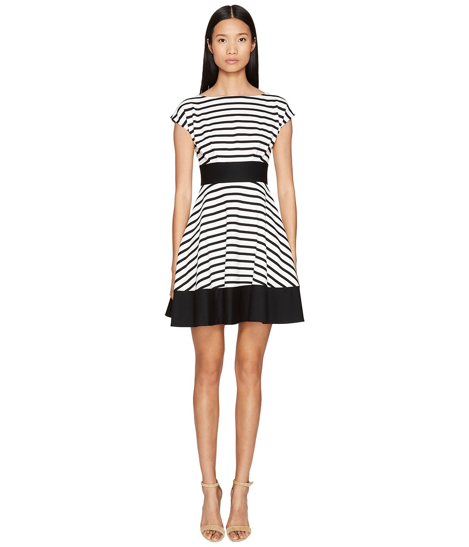 Kate Spade New York - Broome Street Ponte Stripe Fiorella Dress (Off-White/Black) Women's Dress