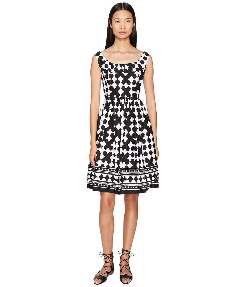 Kate Spade New York - Spice Things Up Lantern Scoop Neck Dress (Black/Fresh White) Women's Dress