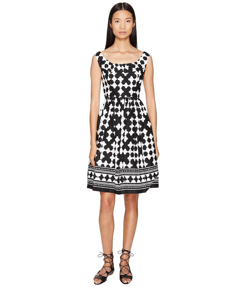 Kate Spade New York - Spice Things Up Lantern Scoop Neck Dress (Black/Fresh White) Women's Dress