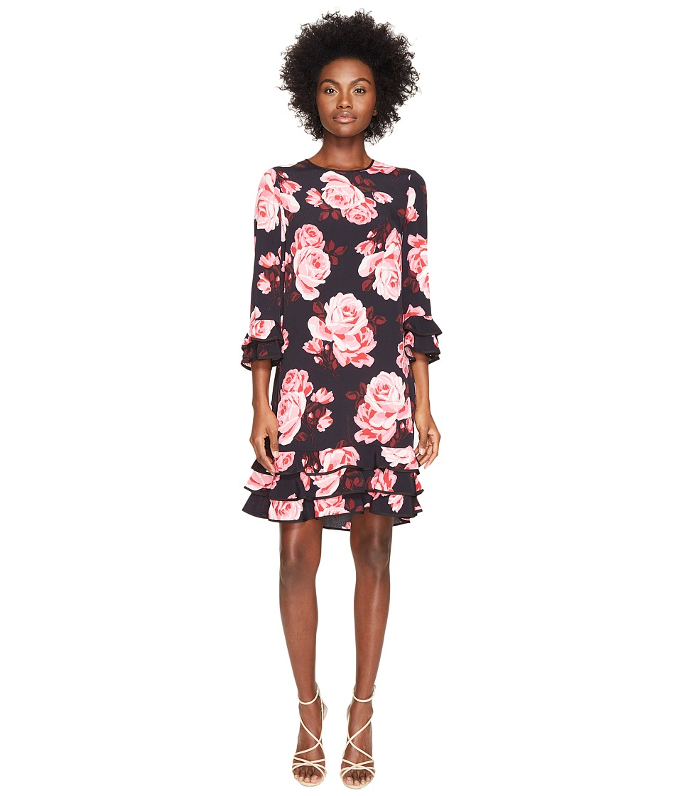 Kate Spade New York - Rambling Roses Rosa Ruffle Shift Dress (Black Multi) Women's Dress