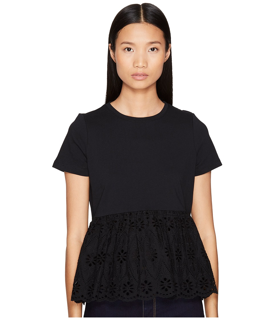 Kate Spade New York - Broome Street Eyelet Flounce Tee (Black) Women's T Shirt