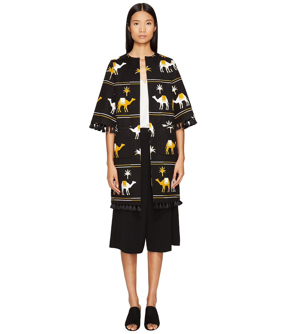 Kate Spade New York - Spice Things Up Embroidered Camel Coat (Black Multi) Women's Coat