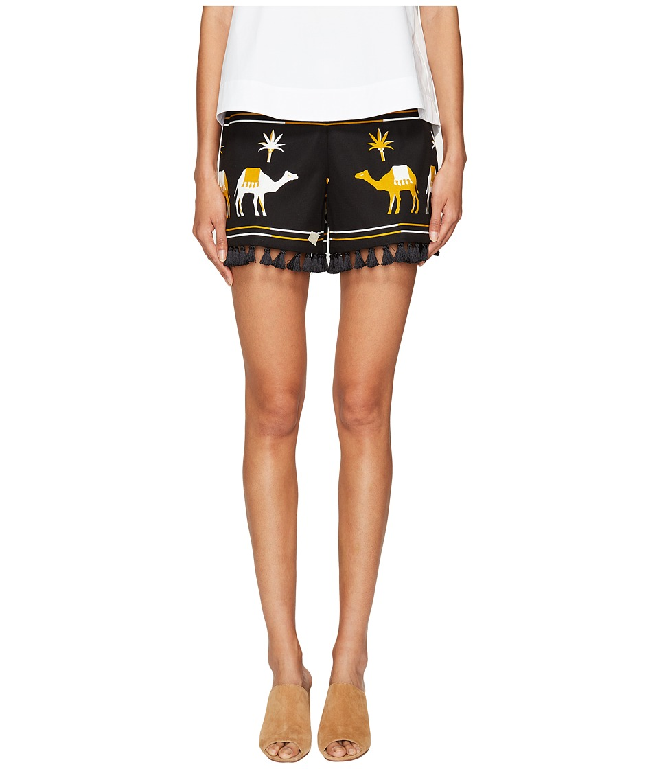 Kate Spade New York - Spice Things Up Embroidered Camel Shorts (Black Multi) Women's Shorts
