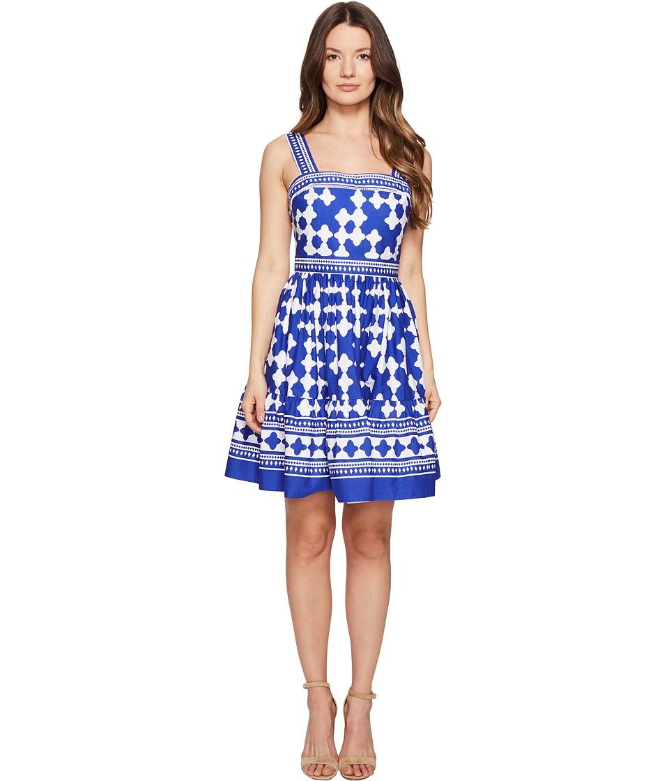 Kate Spade New York Full Plume Lantern Poplin Flounce Dress (Cobalt Blue/Fresh White) Women