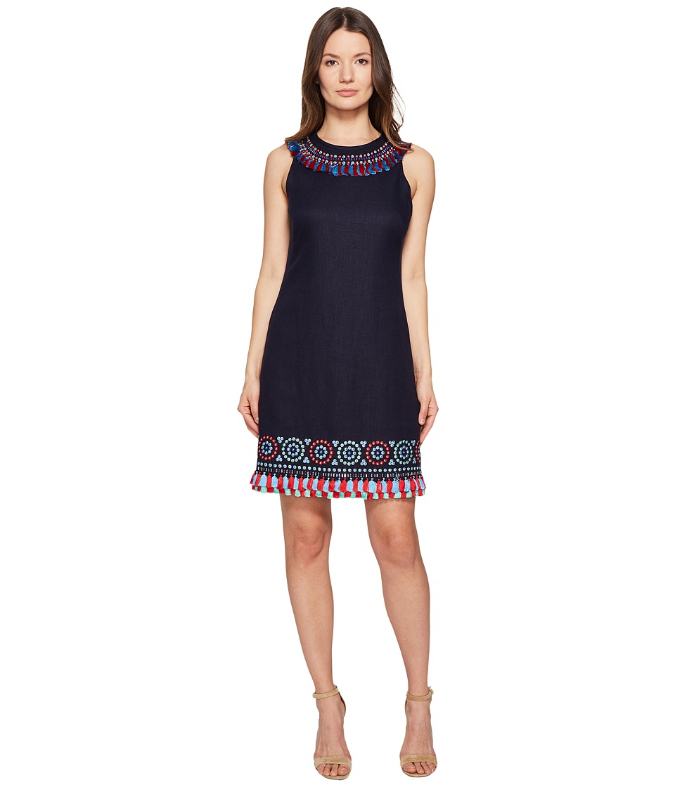 Kate Spade New York - Full Plume Embroidered Tassel Dress (Rich Navy) Women's Dress