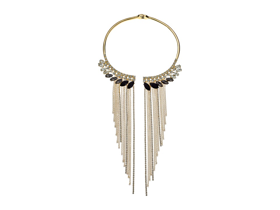 GUESS - Stone Collar with Stones and Metal Fringe Necklace (Gold/Crystal/Jet) Necklace
