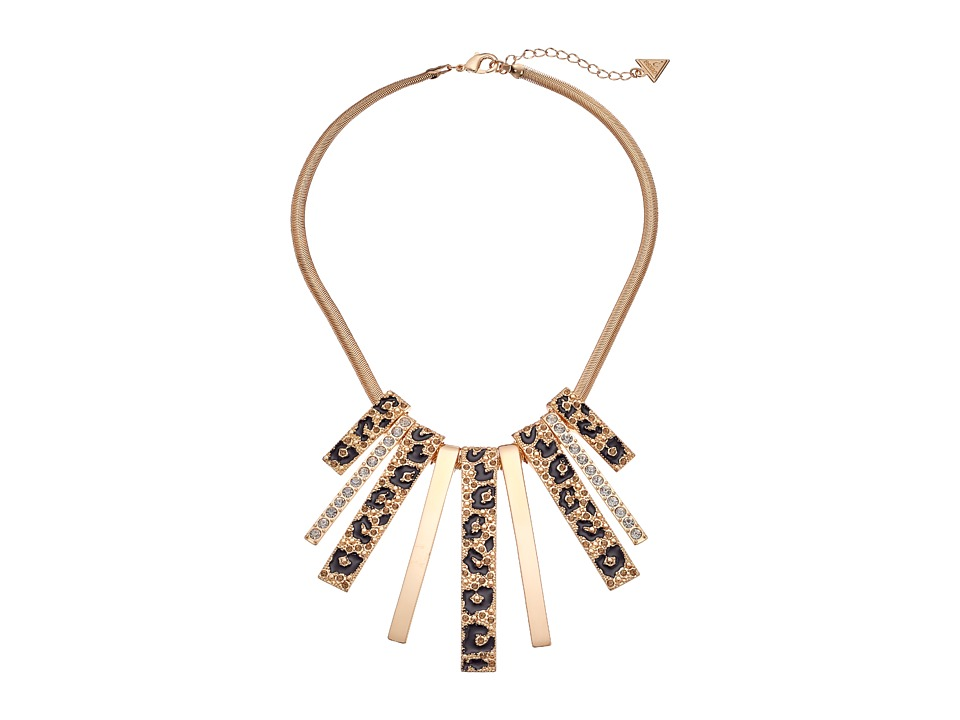 GUESS - Multi Stick Drop Neck Necklace (Gold/Crystal/Jet) Necklace