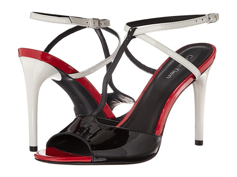 Calvin Klein - Sarita (Black/Platinum White Patent) Women's Shoes