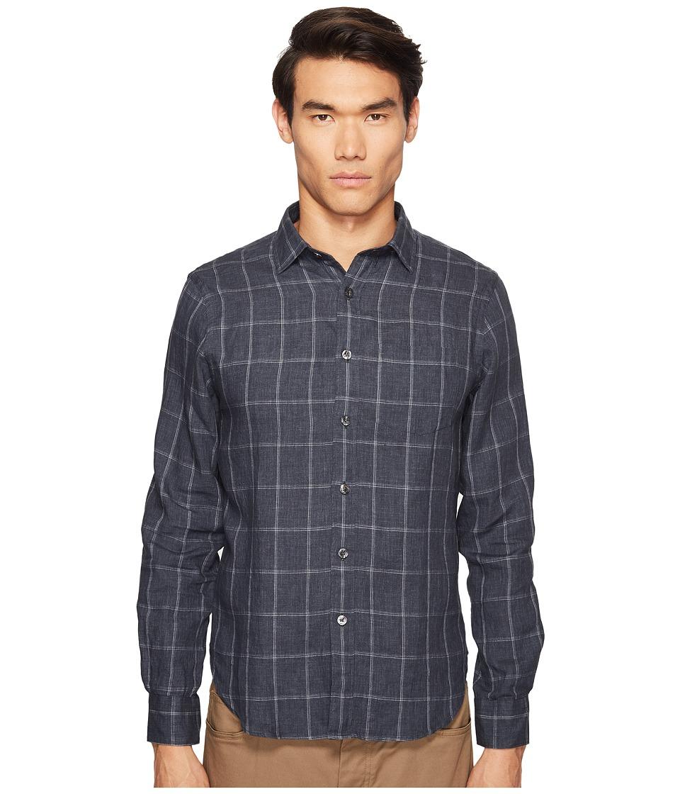 Todd Snyder - Windowpane Spread Collar Linen Shirt (Grey) Men's Short Sleeve Button Up