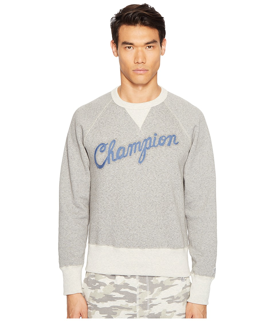 Todd Snyder + Champion - Cursive Logo Graphic Sweatshirt (Antique Grey Heather/Eggshell Mix) Men's Sweatshirt