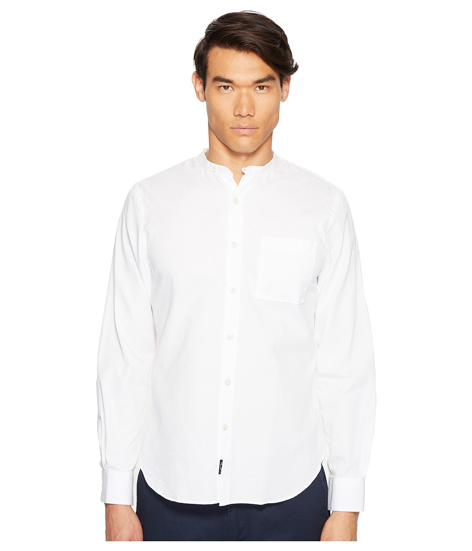 Todd Snyder - Popover Band Collar Shirt w/ Pocket (White) Men's Short Sleeve Button Up
