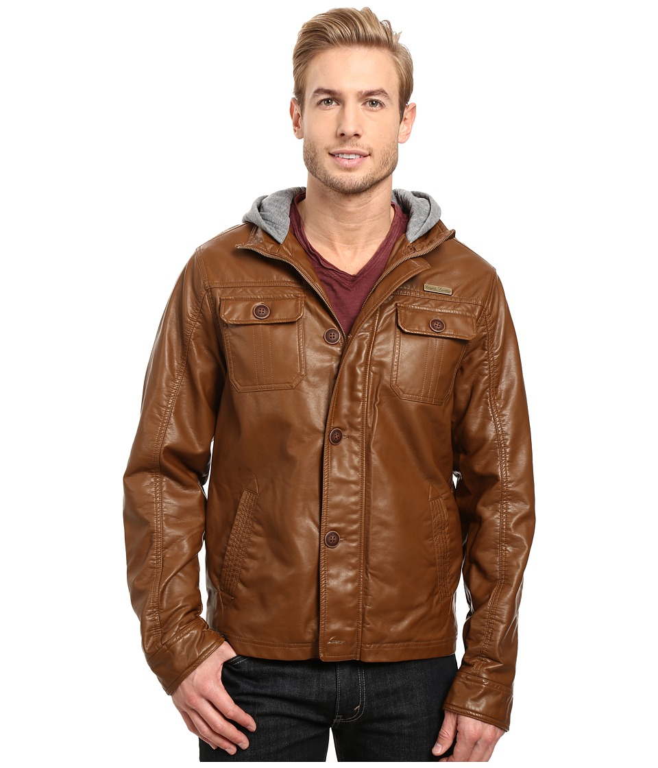 English Laundry - PU Leather Jacket w\/ Fleece Hood (Saddle) Men's Coat