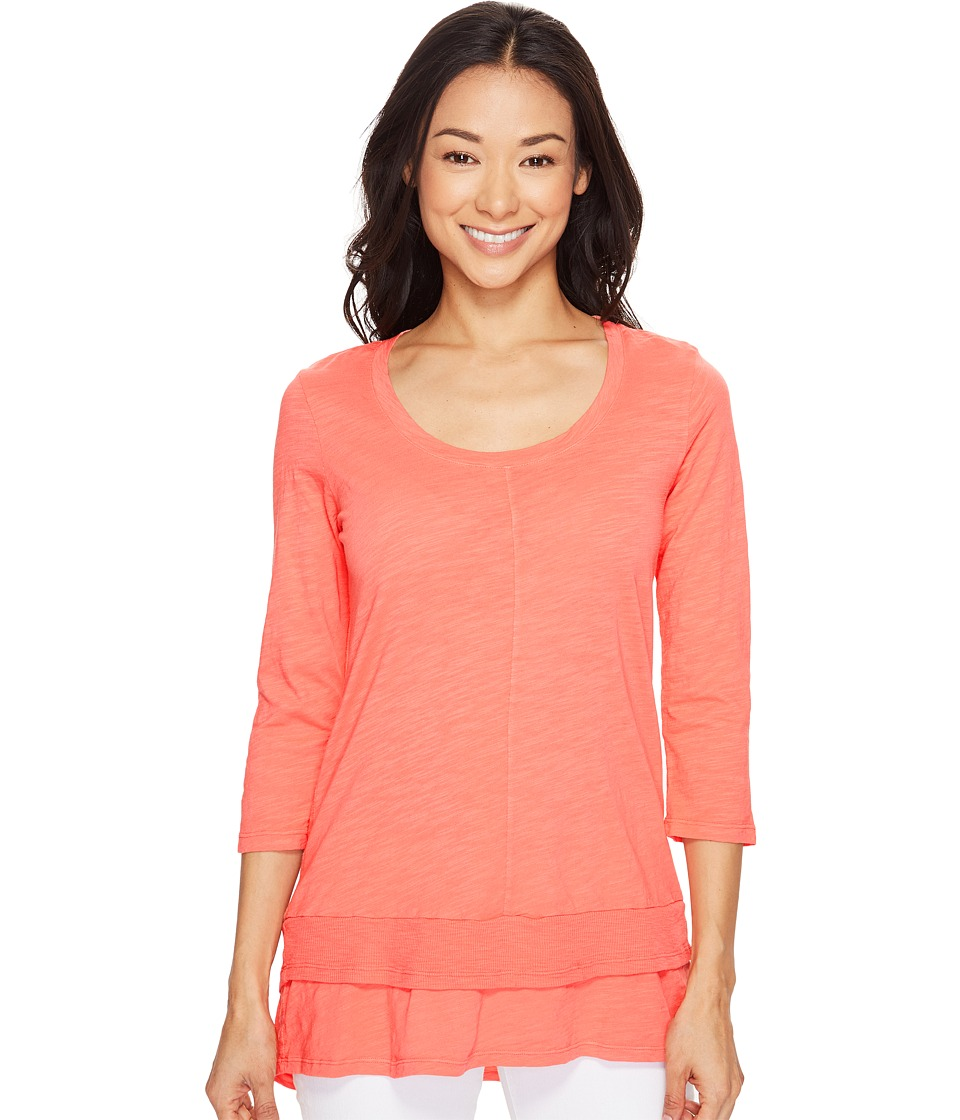 Mod-o-doc - Slub Jersey 3/4 Sleeve Tunic with Double Layer Hem (Tigerlily) Women's Short Sleeve Pullover