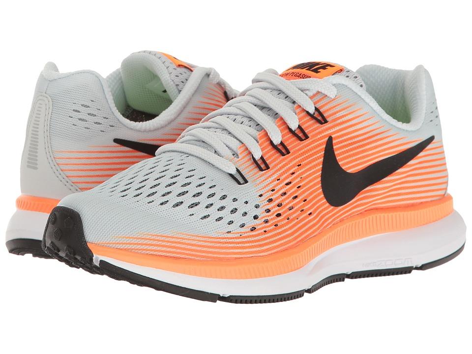 Nike Kids Zoom Pegasus 34 (Little Kid/Big Kid) (Pure Platinum/Black/Tart/Hyper Orange) Boys Shoes