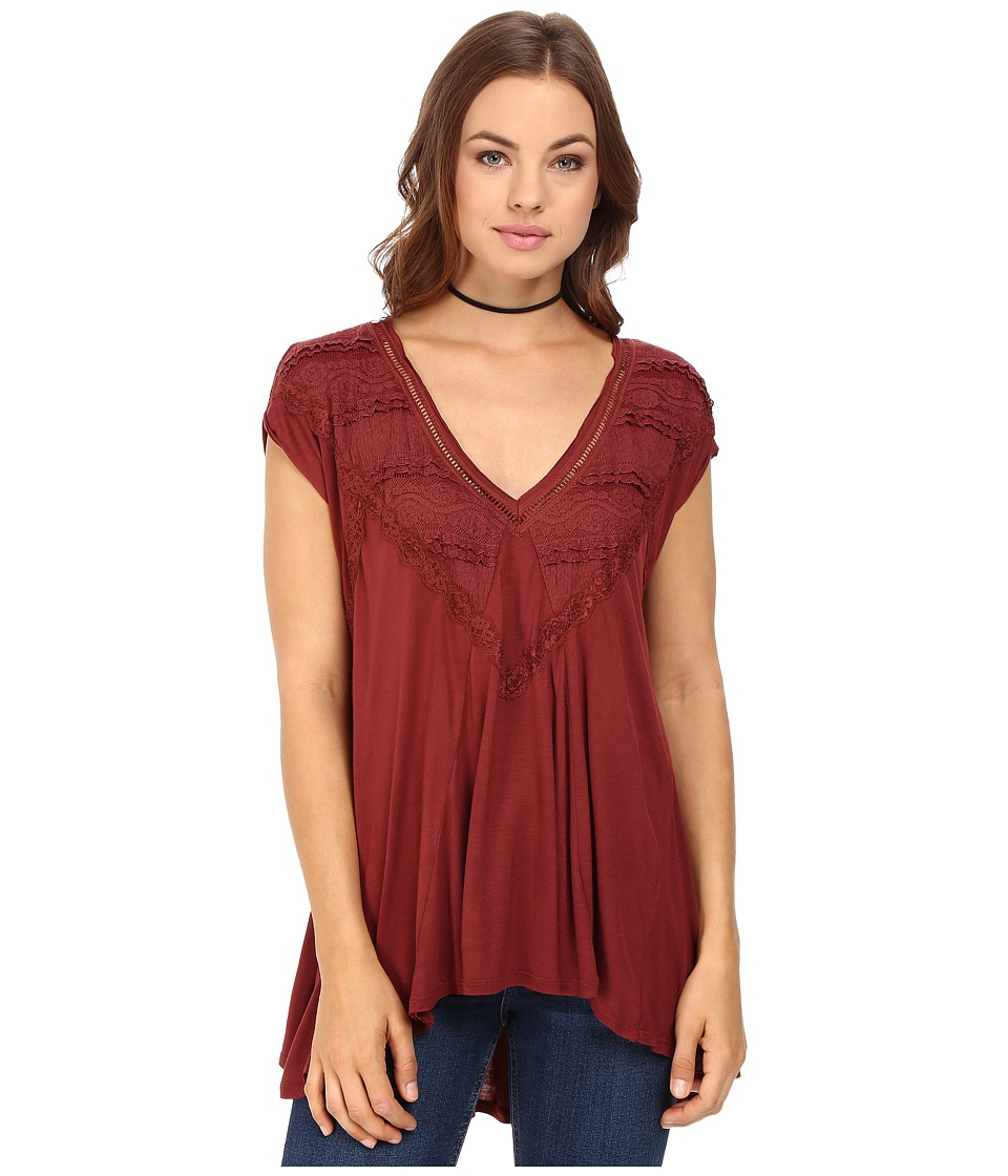 Free People - Abigail Tee (Wine) Women's T Shirt
