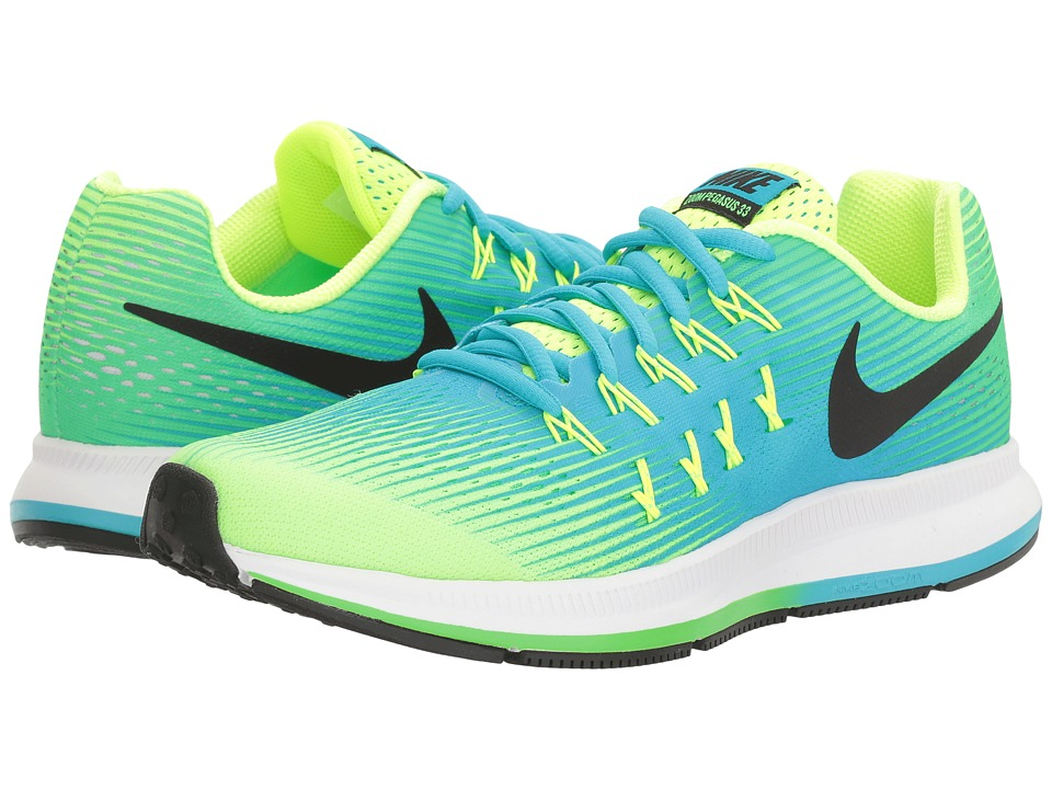 Nike Kids - Zoom Pegasus 33 (Little Kid/Big Kid) (Volt/Black/Chlorine Blue/Rage Green) Boys Shoes