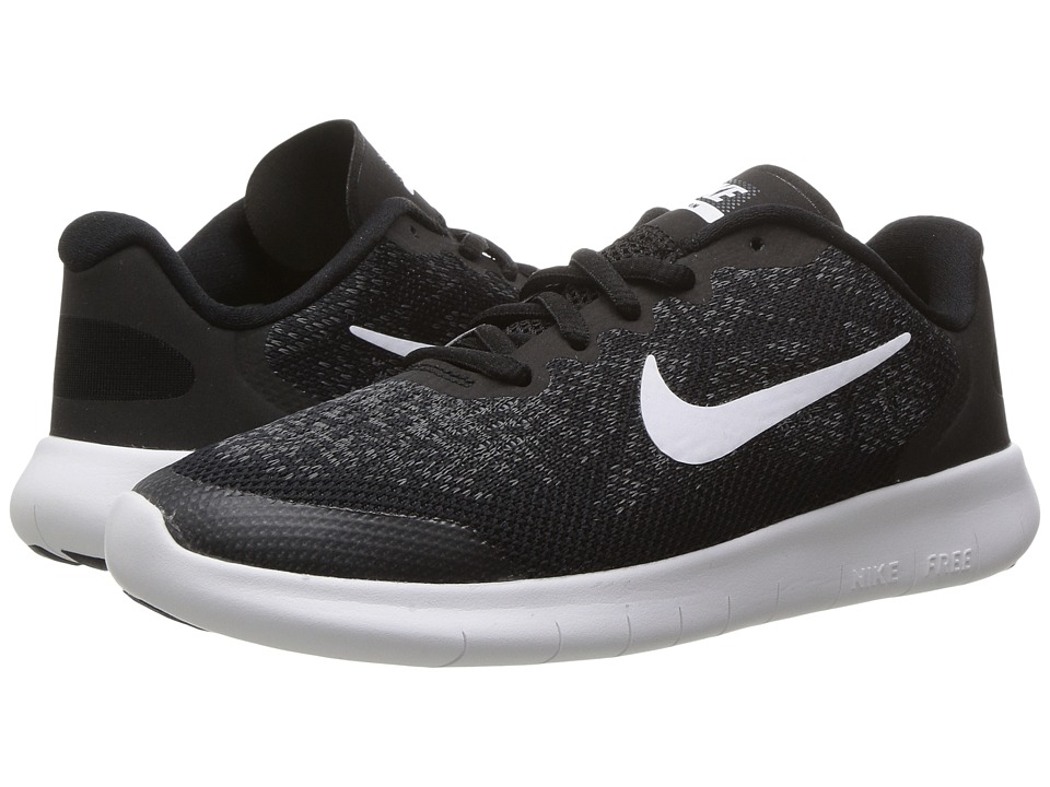 Nike Kids - Free RN 2017 (Little Kid) (Black/White/Dark Grey/Anthracite) Boys Shoes