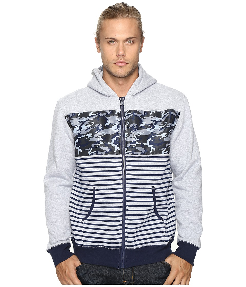 Staple - Camo Stripe Zip Hoodie (Heather Grey) Men's Sweatshirt