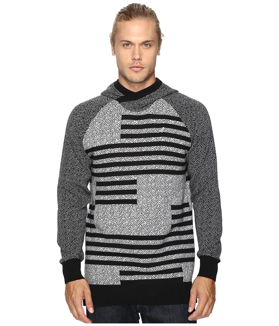 Staple - Check Jacquard Hooded Sweater (Heather Grey) Men's Sweater