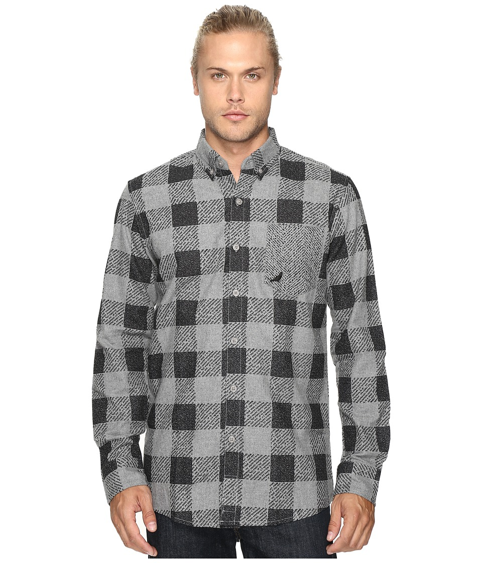 Staple - Check Fishtail Flannel Shirt (Grey) Men's Clothing