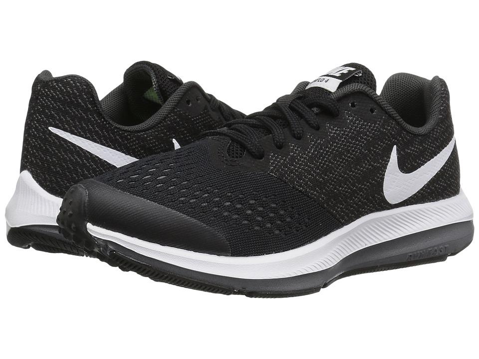 Nike Kids Zoom Winflo 4 (Little Kid/Big Kid) (Black/White/Dark Grey/Anthracite) Boys Shoes