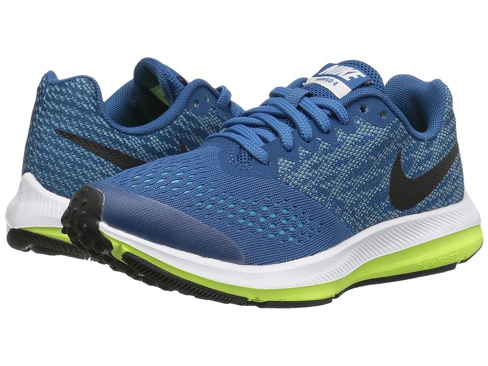 Nike Kids - Zoom Winflo 4 (Little Kid/Big Kid) (Industrial Blue/Black/Chlorine Blue/Volt) Boys Shoes