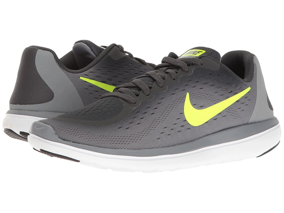 Nike Kids - Flex RN 2017 (Big Kid) (Anthracite/Volt/Cool Grey/Black) Boys Shoes