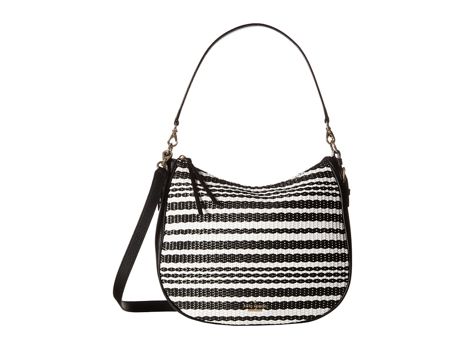 Kate Spade New York - Cobble Hill Straw Mylie (Black/Cement) Handbags