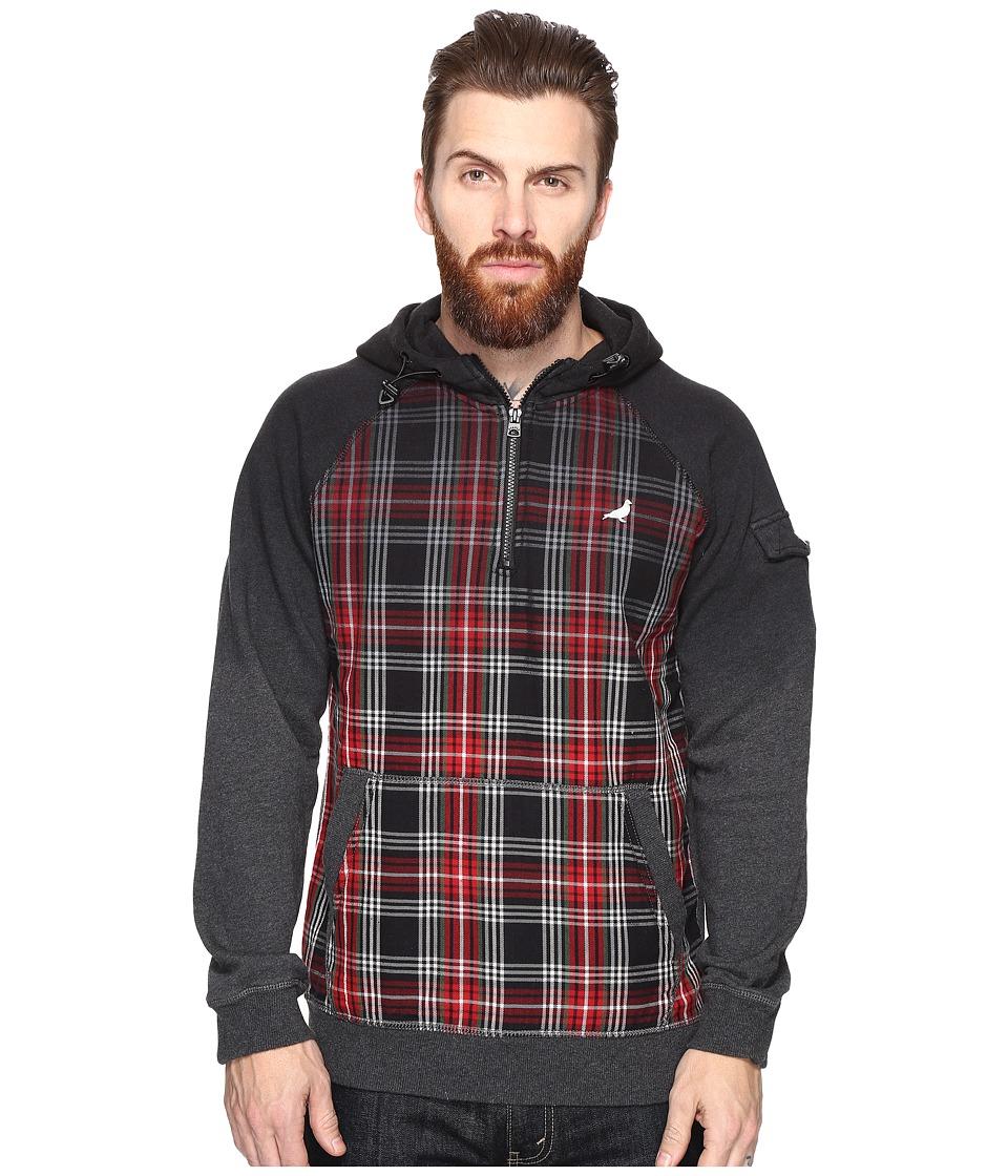 Staple - Flannel Dip Hoodie (Black) Men's Sweatshirt