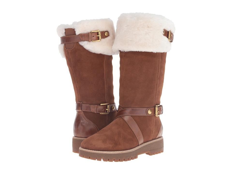 MICHAEL Michael Kors Fawn Boot (Dk Caramel/Sport Suede/Distressed Vachetta/Real Shearling) Women