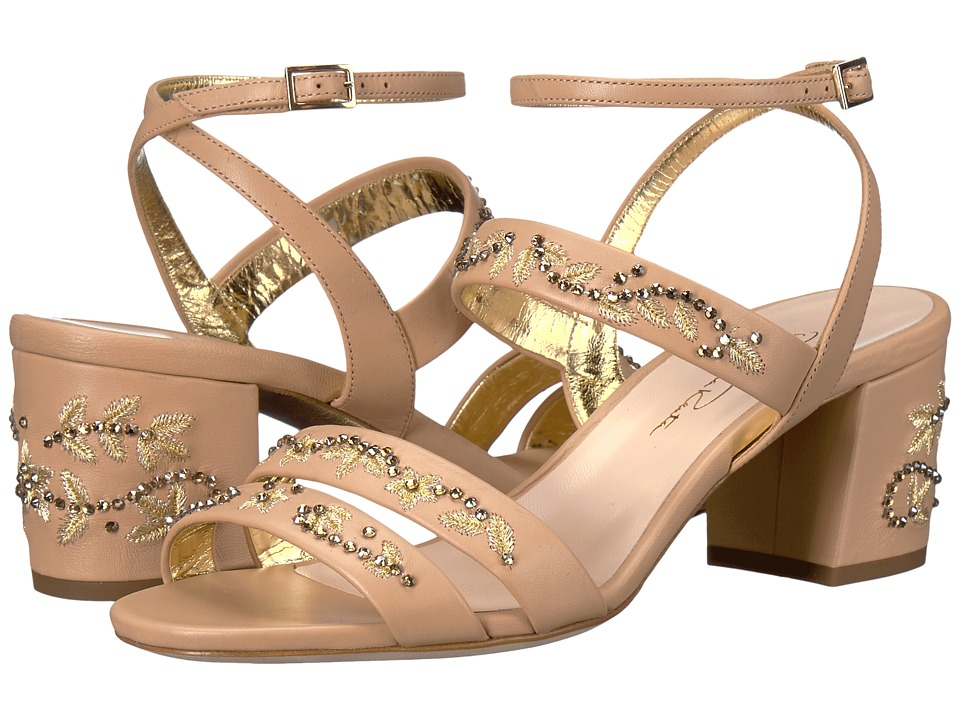 Oscar de la Renta Melody 55mm (Beige Nappa/Gold Embroidery) Women