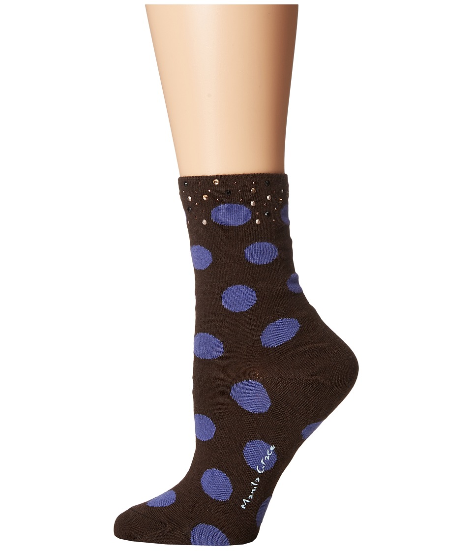Manila Grace - Polka Dot Socks (Black/Purple) Women's Knee High Socks Shoes