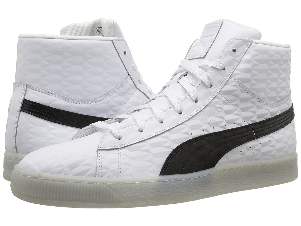 PUMA - Basket Classic Mid Emboss (White/Black/White) Men's Shoes