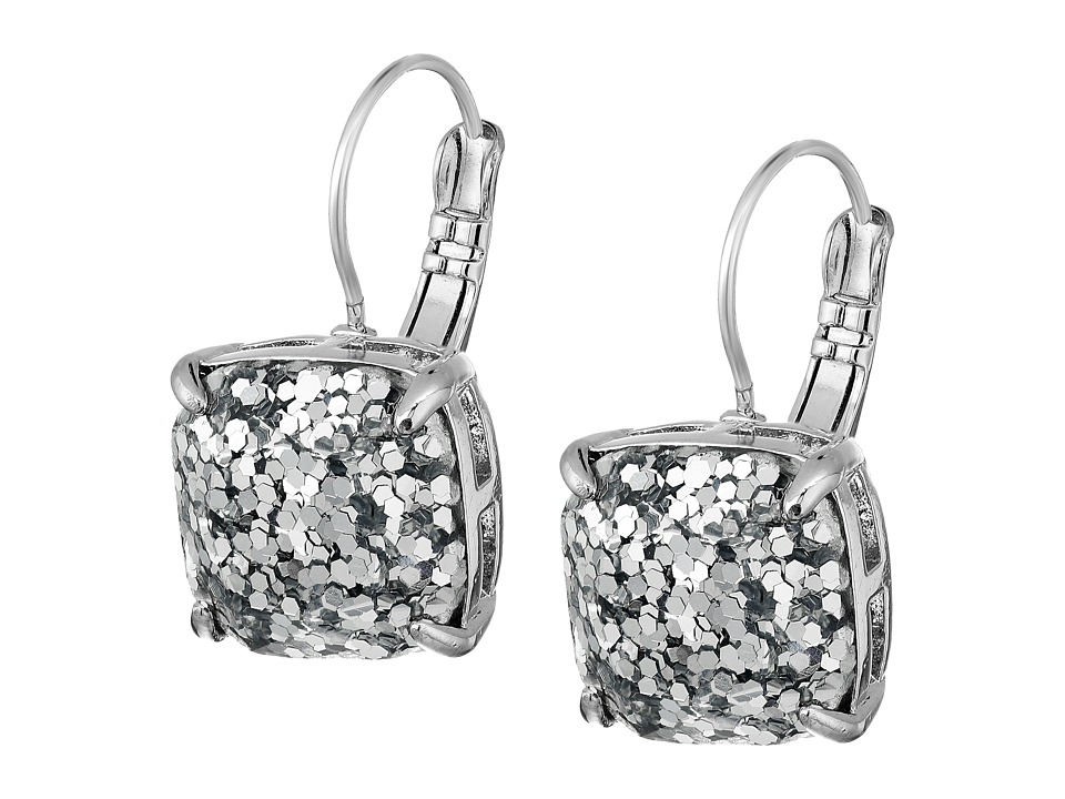 Kate Spade New York - Small Square Leverbacks (Silver Glitter/Silver) Earring