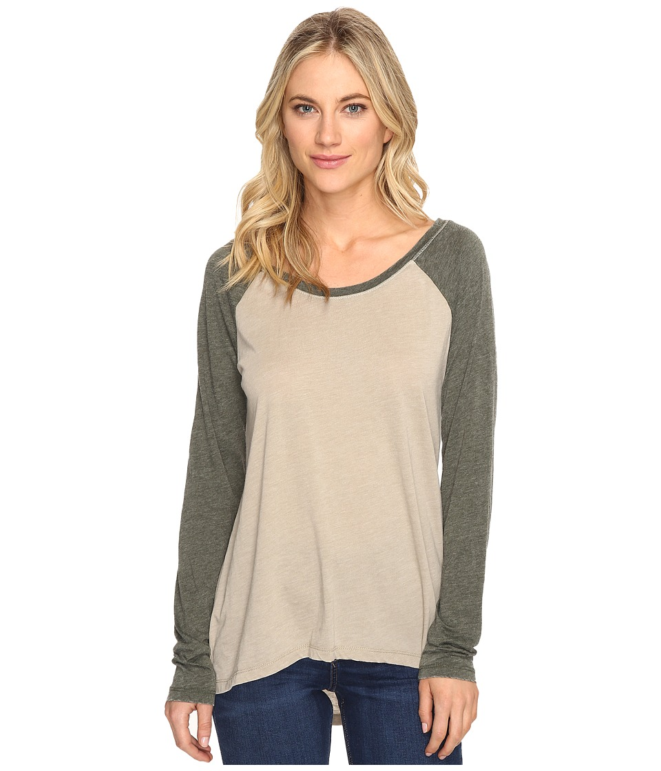 Culture Phit - Linnea Long Sleeve Baseball Tee (Khaki) Women's T Shirt